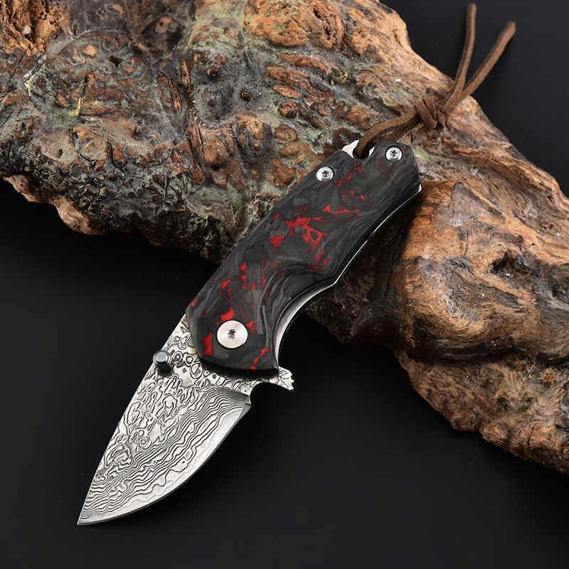 Складной мини-нож VG10, карманный клинок из Дамасского волокна с рукояткой из углеродного волокна для кемпинга и выживания, для дайвинга и охоты