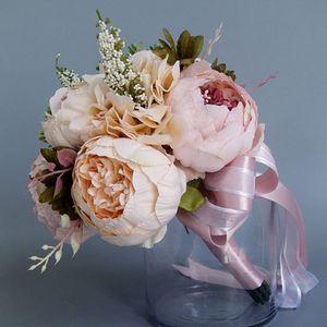 Image 2 - Europese Vintage Bridal Wedding Boeket Kunstmatige Dusty Pioen Bloemen Nep Vetplant Kant Lint Bruidsmeisje Party Decor