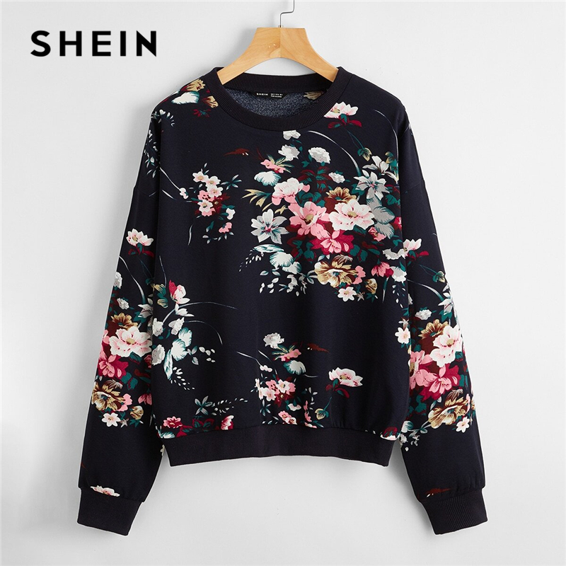 SHEIN Navy Blue Drop Shoulder Floral Print Pullover Women Autumn Round Neck Long Sleeve Casual Sweatshirts|Hoodies & Sweatshirts| - AliExpress