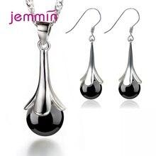 Модный набор украшений для женщин, дизайнерский кулон в виде счастливого листа, ожерелье, серьги-кольца, 925 пробы, серебро, CZ, кристалл, женский, для вечеринки