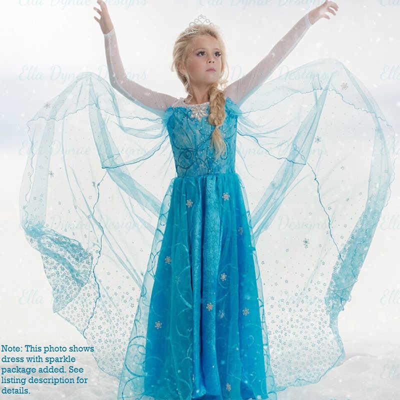 קיץ מפואר ילדה אלזה תלבושות עם ארוך גלימה אלגנטי בנות נסיכת הניצוץ בד שלג מלכת קרנבל המפלגה לנשף אלזה שמלה