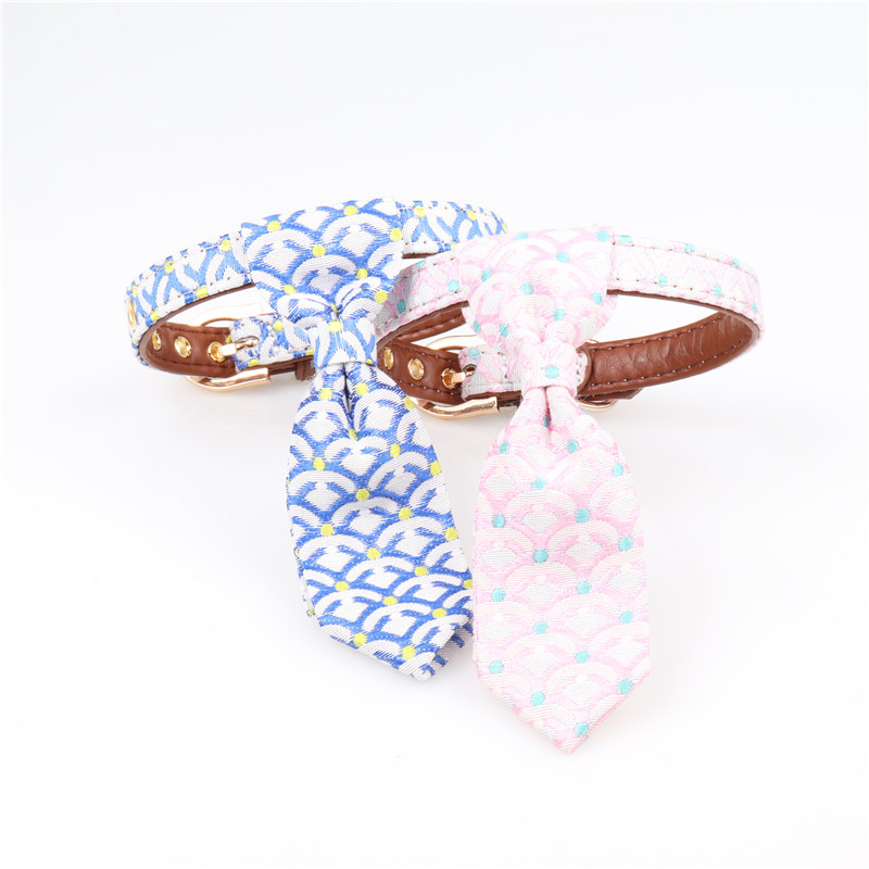 Amin Lattice New Style And Wind Pet Dog Collar Pu Gou Tie