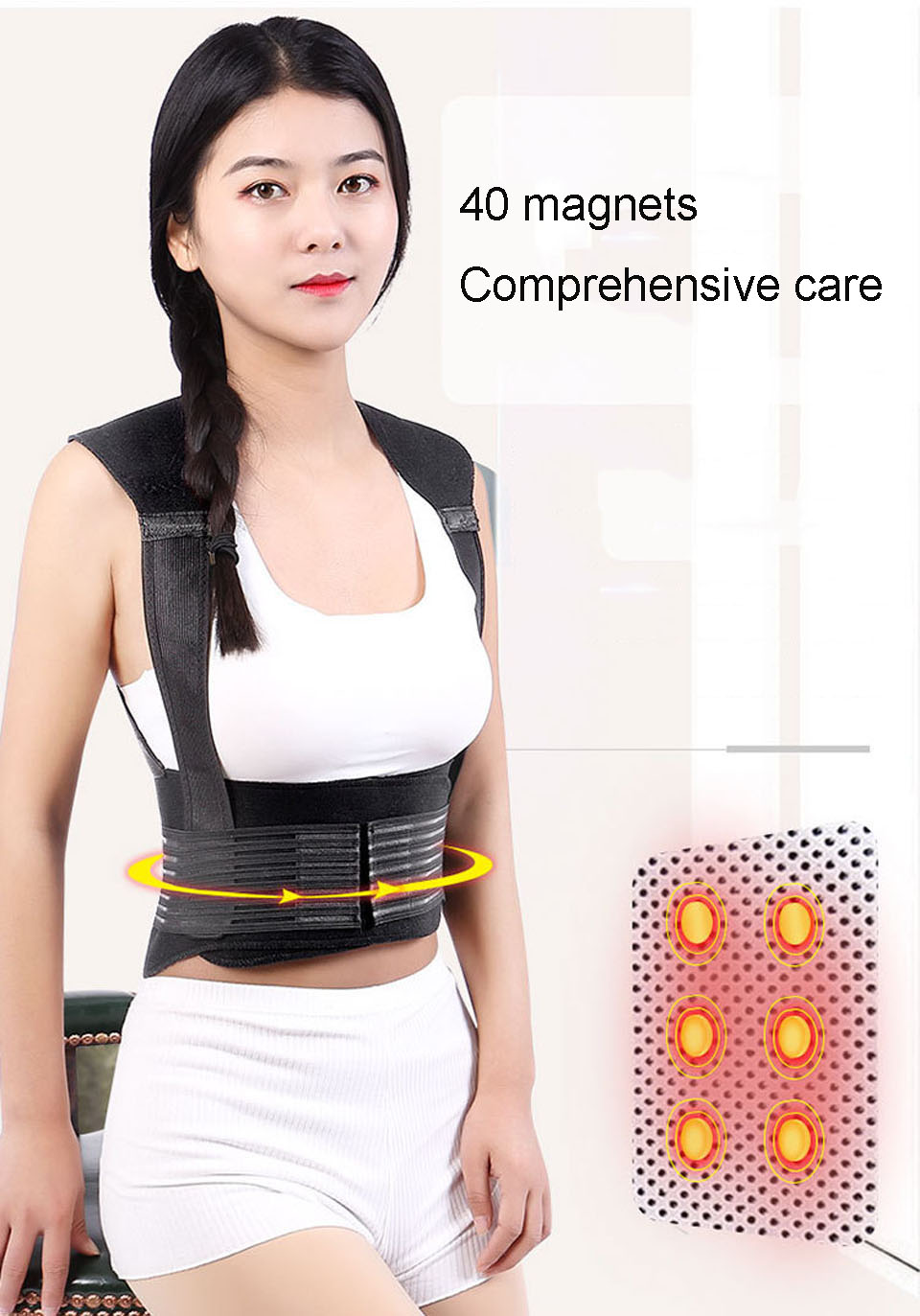 Tourmaline Self Heating Posture Corrector Belt with Nano Infrared Acupuncture Dot Matrix  to Support Spine and Shoulder Helps to Relieve Pain in Back and Joints 11