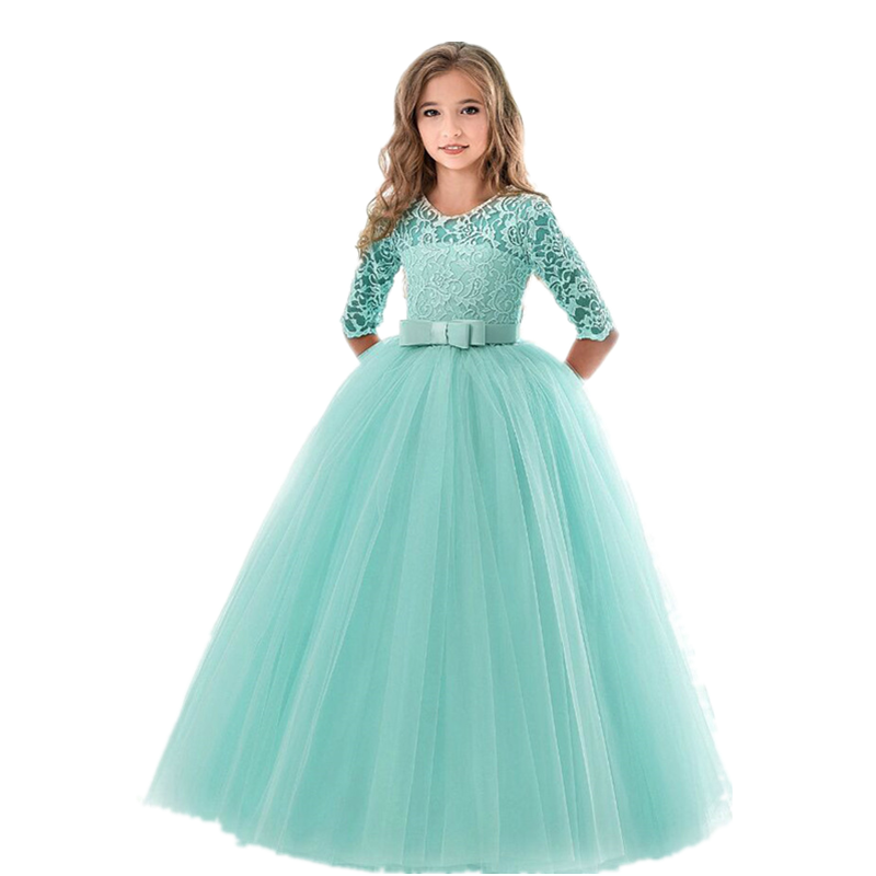 Girls Lace Dress For Wedding Embroidery Party Dresses Evening Christmas Girl Ball Gown Princess Costume Children Vestido 6 14Y 5