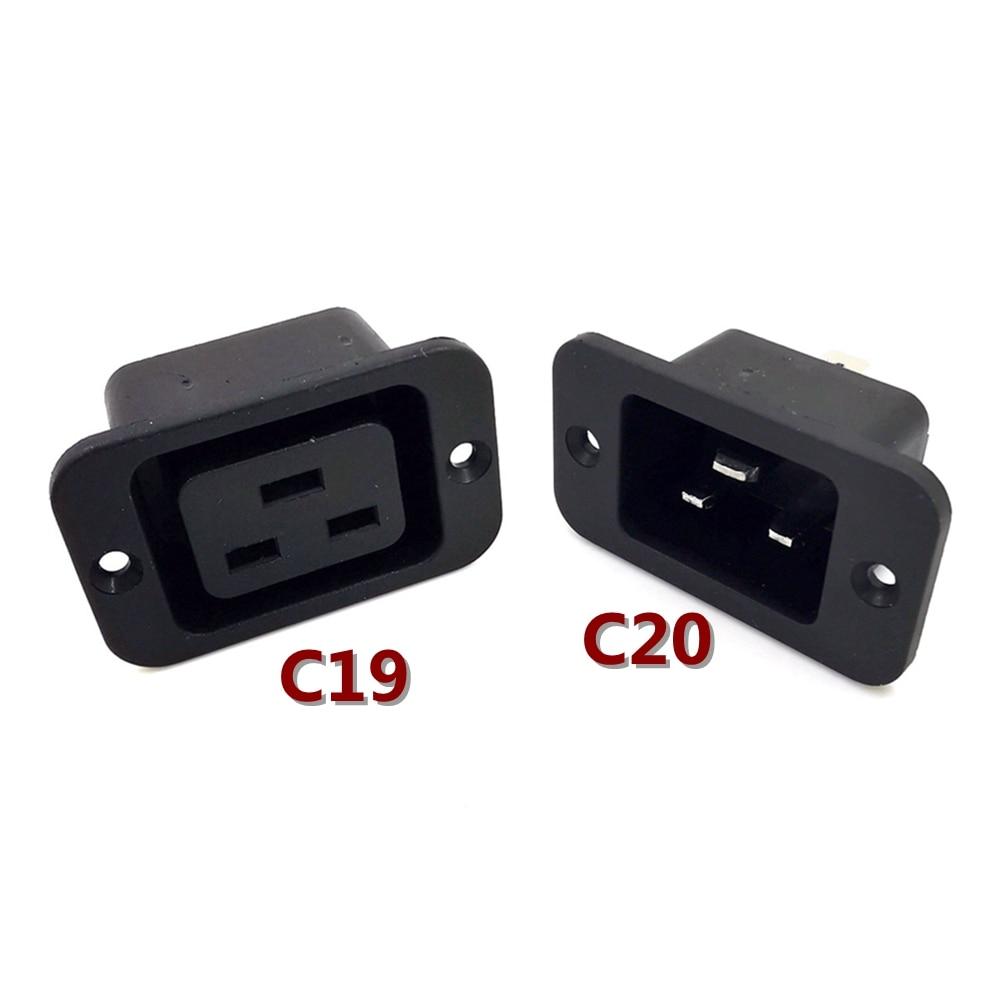 IEC Inlet AC 250V 16A IEC 320 C19 C20 Panel Mount Plug Connector Socket