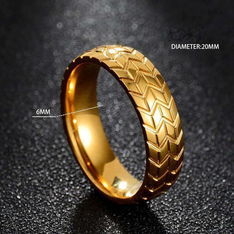Anillos de oro y plata de acero inoxidable para neumático de motocicleta para hombre, anillo de motorista Punk de Hip Hop, anillo de banda de boda de rayas geométricas