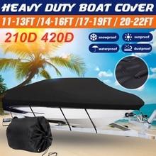 Покрытие для лодки 11-13/14-16/17-19/20-22 фута, защита от УФ-излучения, водонепроницаемые, тяжелые, 210D 420D, аксессуары для лодок из холщовой ткани для с...