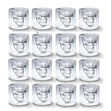 25ML Shot Transparent Crystal Skull Head Glass Cup For Two Ways Whiskey Wine Tea Coffee Vodka Bar Club Beer Wine Glasses crystal skull head vodka whiskey glass cup