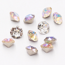 Astrobox Diamond Round 4/5/6/7/8/10mm Cone Transparent Pointed Crystal Pointback Glue On Nail Art Rhinestones DIY Jewelry Making