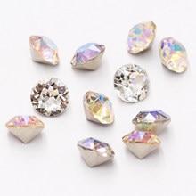 Astrobox Diamant Ronde 4/5/6/7/8/10Mm Cone Transparant Spitse Crystal Pointback lijm Op Nail Art Rhinestones Diy Sieraden Maken