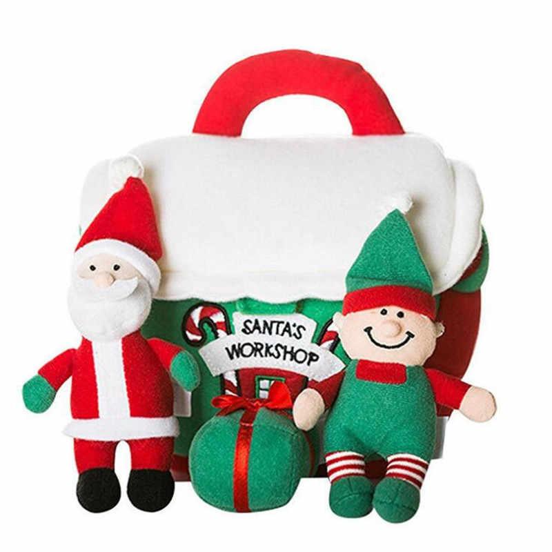 4 in 1 Santa's workshop playset Christmas Box Plush Toy Santa Claus Snowman Doll For Christmas Gift