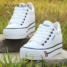 Summer Women Platform Sneakers Wedge Canvas Shoes Female Lac