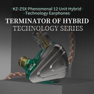 Image 5 - KZ ZSX Терминатор металлическая гарнитура 5BA + 1DD Гибридный 12 единиц HIFI бас наушники в ухо монитор наушники с шумоподавлением KZ