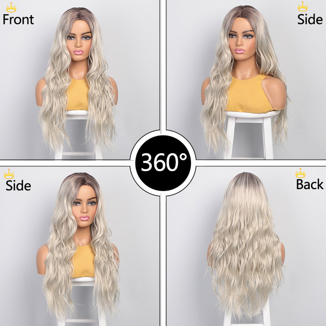 AISI BEAUTY Long Wavy Womens Wig Natural Part Side Hair Ombre Synthetic Wigs Platinum/Blonde/Black Wigs Heat Resistant for Women 2
