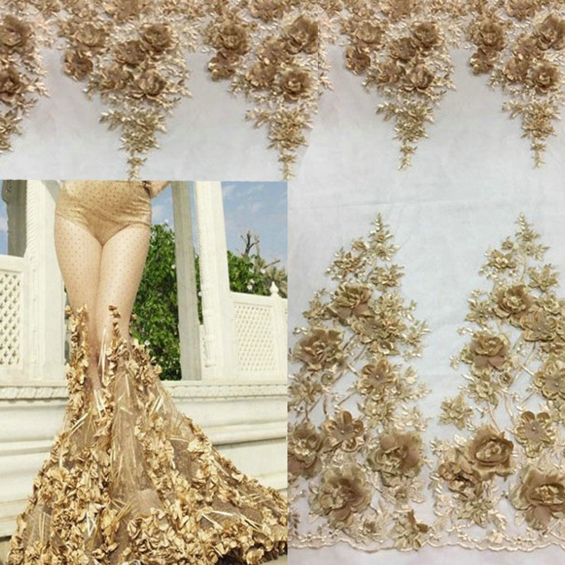 5 Yards Gold 3D Flowers Pearls Lace Fabrics For Evening Dress 2019 New Fashion Embroidered Mesh Party Prom Tulle Lace Material