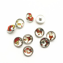 Hot selling 20pcs/lot Father Christmas 12mm Glass Snap Buttons Fit DIY Bracelet Button Charms Jewelry