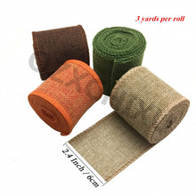 Rollos de cinta con cable de arpillera de 4 colores, para la decoración de artesanías navideñas, arpillera de yute para boda, decoración DIY para el hogar 7YJ295