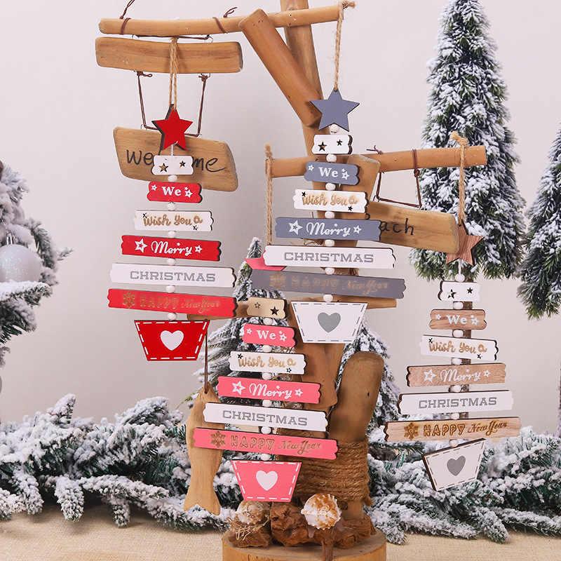 1 pc feliz natal carta pingentes de madeira artesanato enfeites de árvore de natal ornamento para casa parede decoração de festa de natal
