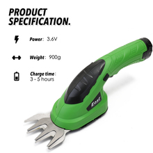 3.6V Electric Trimmer 2 in 1 Lithium-ion Cordless Hedge Rechargeable Trimmers for Grass  Lawn Mower Garden Tools