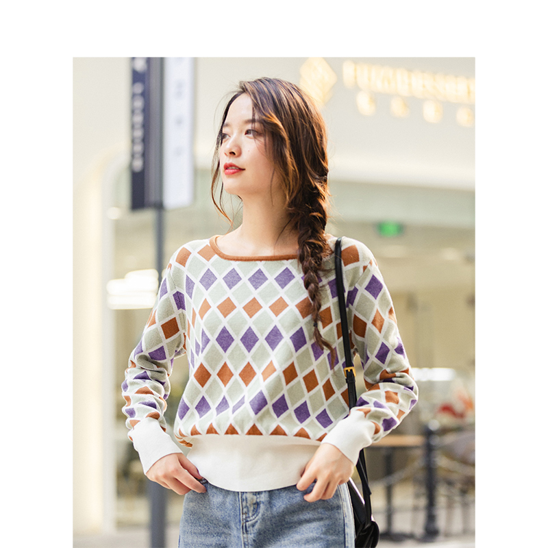 INMAN Winter Literary Fashion Square Neck Contrast Color Quilted Warm Knitted Women Pullover