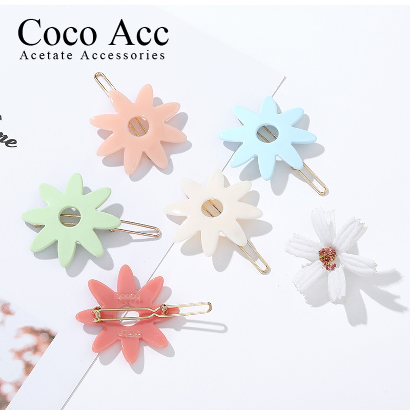 Elegant Acetate Disey Flower Hairpins For Women 2020 Sweet Geometric Hair Clips Frog Barrette Girls Hair Accessories Headwear