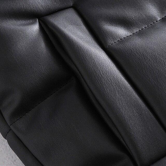 2021 Autumn Winter Women Black Faux Leather Jackets Fashion Zipper Sleeveless Coat Tops Female Casual Warm Outwear Ladies 6
