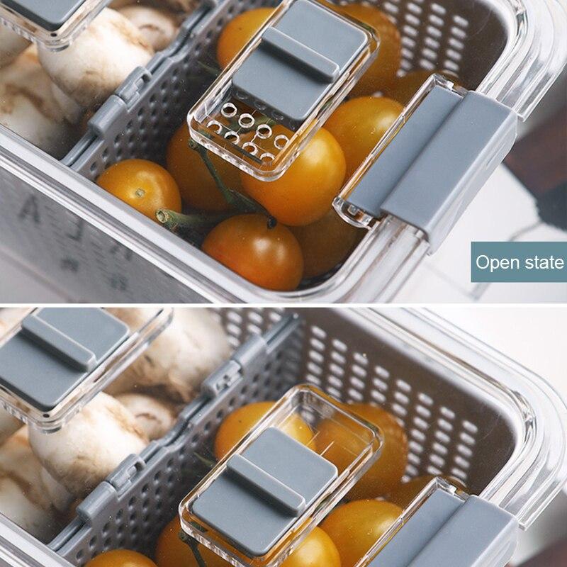 Kitchen Plastic Storage Box Fresh-Keeping Box Refrigerator Fruit Vegetable Drain Crisper Kitchen Storage Containers With Lid 3