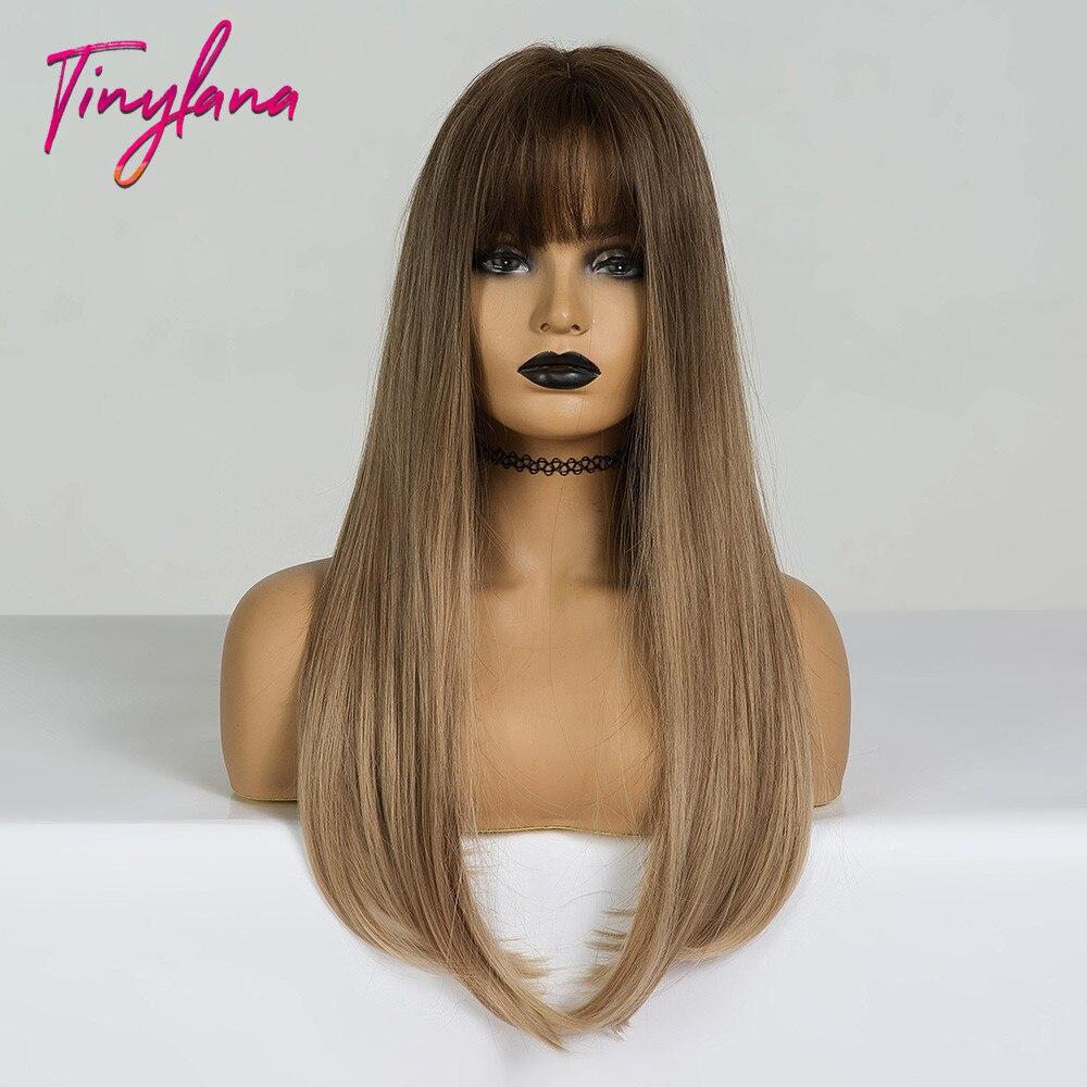 Купить крошечная лана длинные омбре коричневые светлые парики с челкой