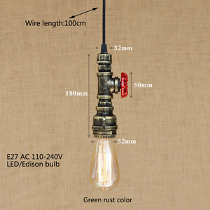Image 4 - Loft industrial Iron water Pipe steam punk Vintage pendant lamp cord E27 led pendant lights for bedroom bar restaurant kitchen