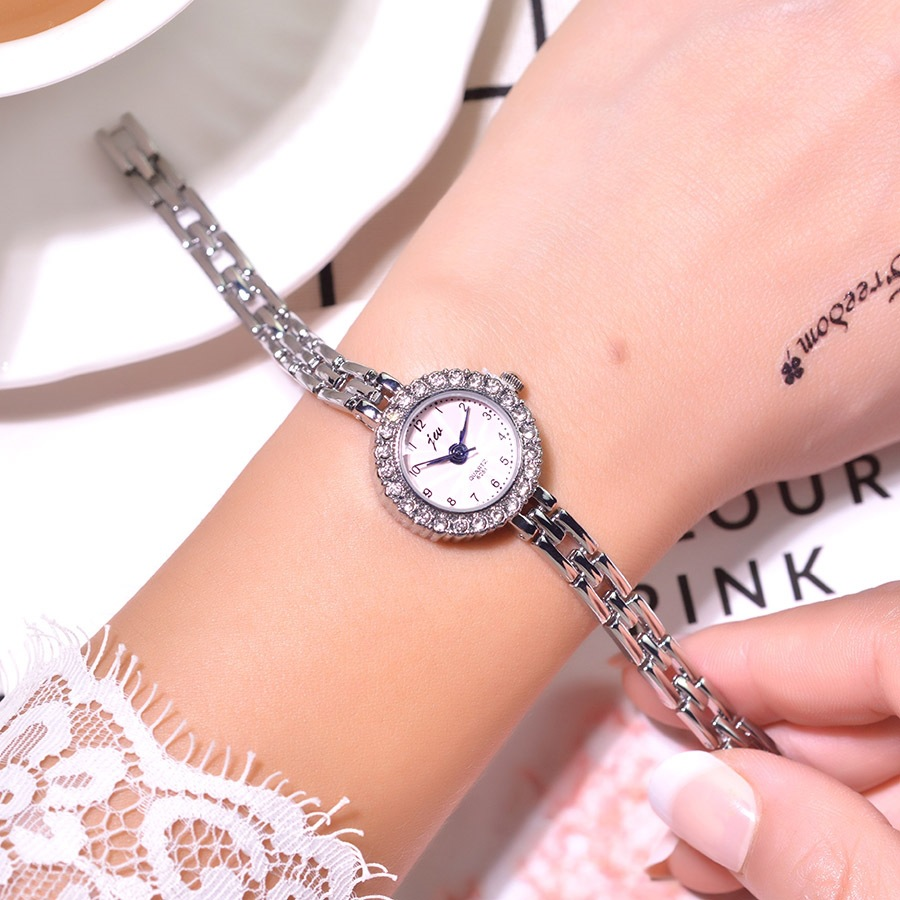 Women Bracelet Wristwatches Gifts Stainless-Steel Silver Luxury Crystal Ladies Quartz title=
