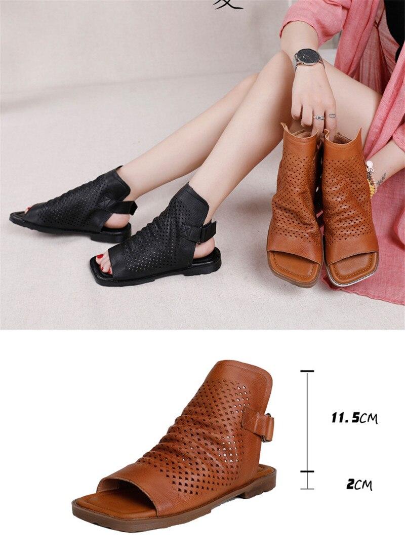 Original 2020 Summer New Gladiator Sandals For Woman Handmade Retro Hollow Peep Toe High Top Flat Layer Cowhide Female Cool Shoe (14)