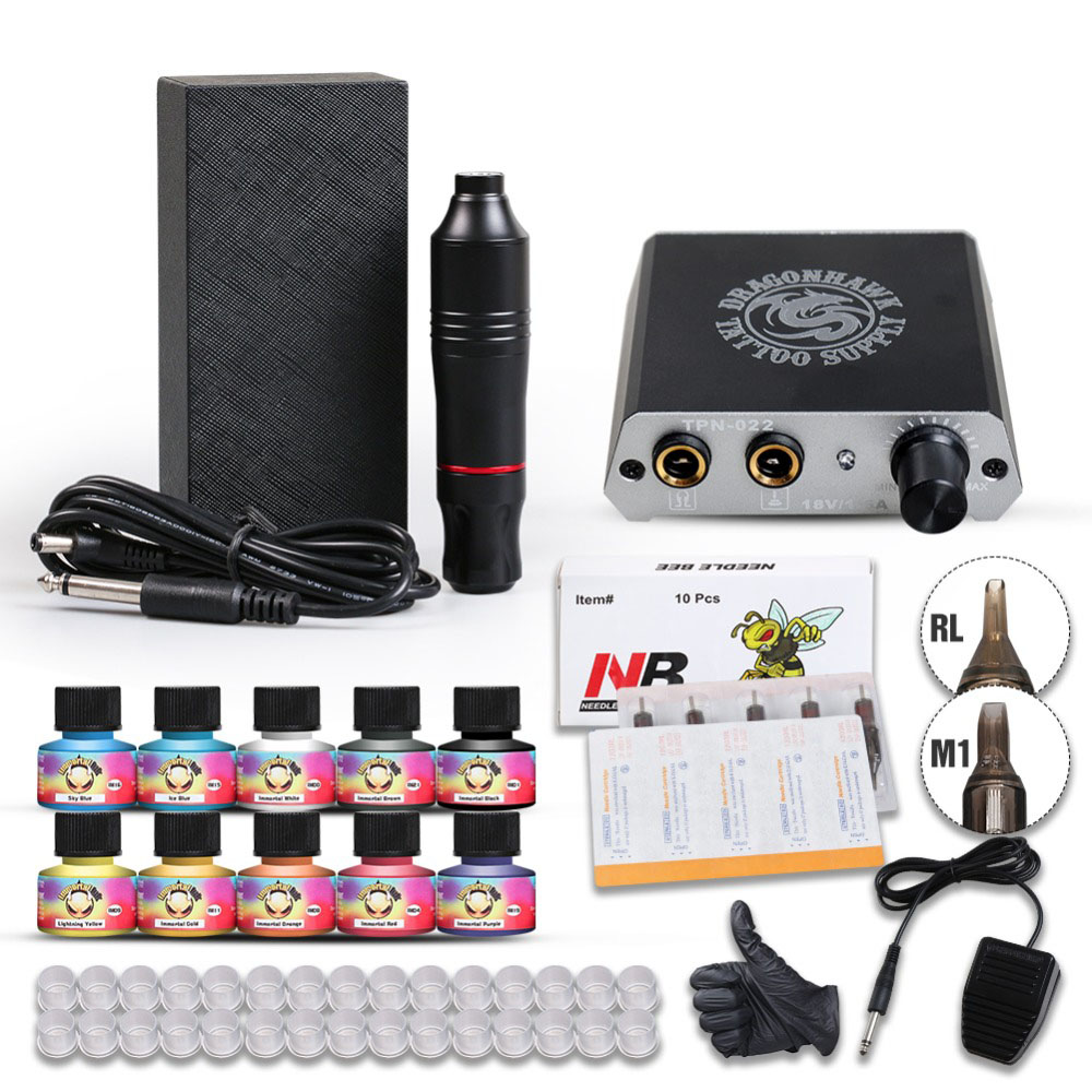 Complete Beginner Tattoo Kit Motor Pen Machine USA Color Inks Power Supply Set Needles