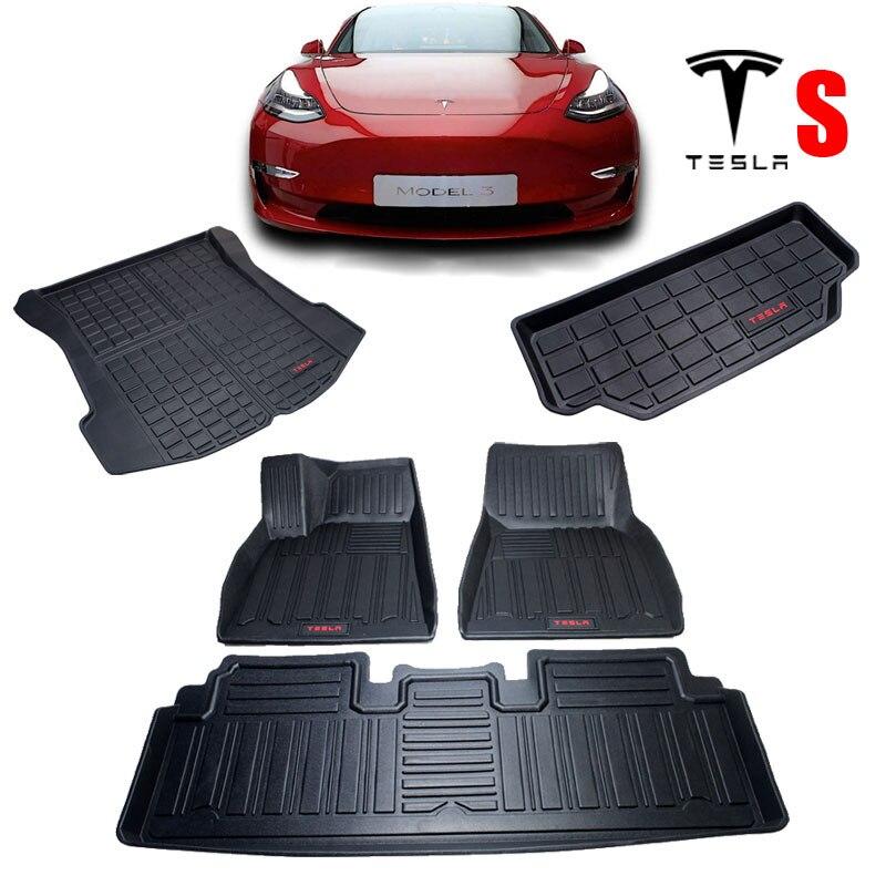 Audew pour Tesla Model S TPO avant et arrière noir 3 pièces tapis de sol de voiture personnalisé adapté à tous les temps tapis de sol couverture imperméable à l'eau Durable