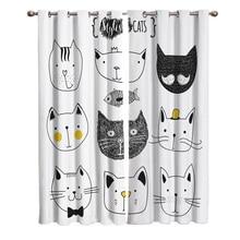 Шторы на окна с изображением кошек, животных, рыб, черного и белого цветов, занавески для гостиной, декоративные предметы для гостиной
