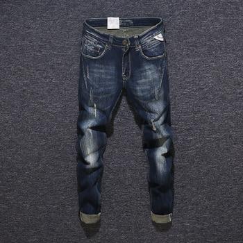 Fashion Streetwear Men Jeans Black Blue Slim Fit Spliced Designer Ripped Jeans Men Denim Pants Italian Vintage Ripped Jeans ripped denim grab bag