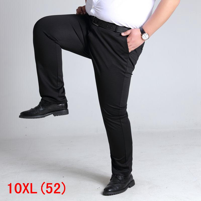 Large Size Men's Suit Pants Trousers Plus Size 7XL 8XL 9XL 10XL Waist 138cm Summer Large Size Stretch Black Straight Pants 52