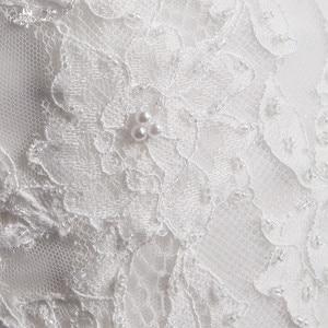 Image 5 - LZ369 Yiai Ivory Nice Lace Pearls Wedding Dress Long Sleeve Mermaid Dress Sexy Side Split Long Beach Dress