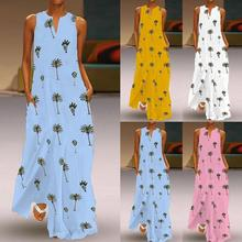 2019 Plus Size  Women Casual Print Dress Sleeveless Loose Party Long charm party beach hot