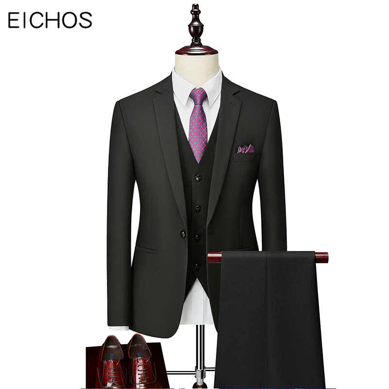 Plus Size 5XL Men's Suits Business Casual Solid Color Suit Groom Wedding Dress Men Three-piece 2020 New Formal Office Suits Set