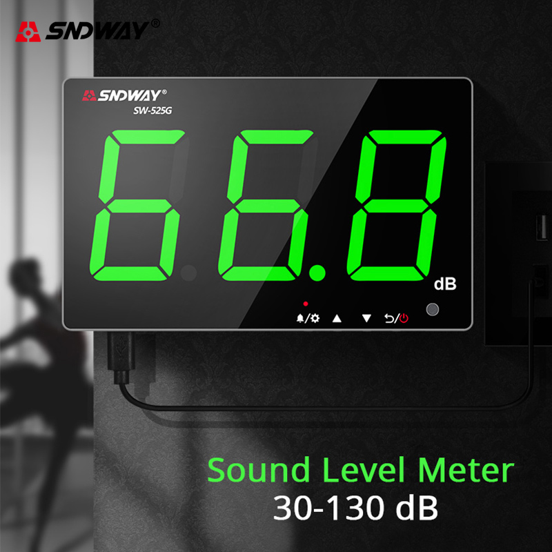 Sndway Wall-mounted Sound Level Meter 30-130 db Noise Meter Green Light Digital USB Charging Measuring Decibel Monitoring Noise