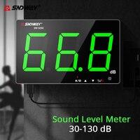 Sndway medidor de nível de som fixado na parede 30 130 db medidor de ruído luz verde digital usb carregamento de medição decibel monitoramento de ruído Medidores de nível de som     -