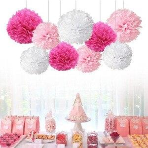 Image 1 - 9 unidades/juego de pompones de seda para boda, pompones de papel decorativos, pompones, bolas, fiesta, decoración del hogar, decoración de fiesta de cumpleaños