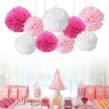 Pompons en tissu 9 pièces/ensemble, boules décoratives en papier pour mariage, décoration de maison fête danniversaire en tissu