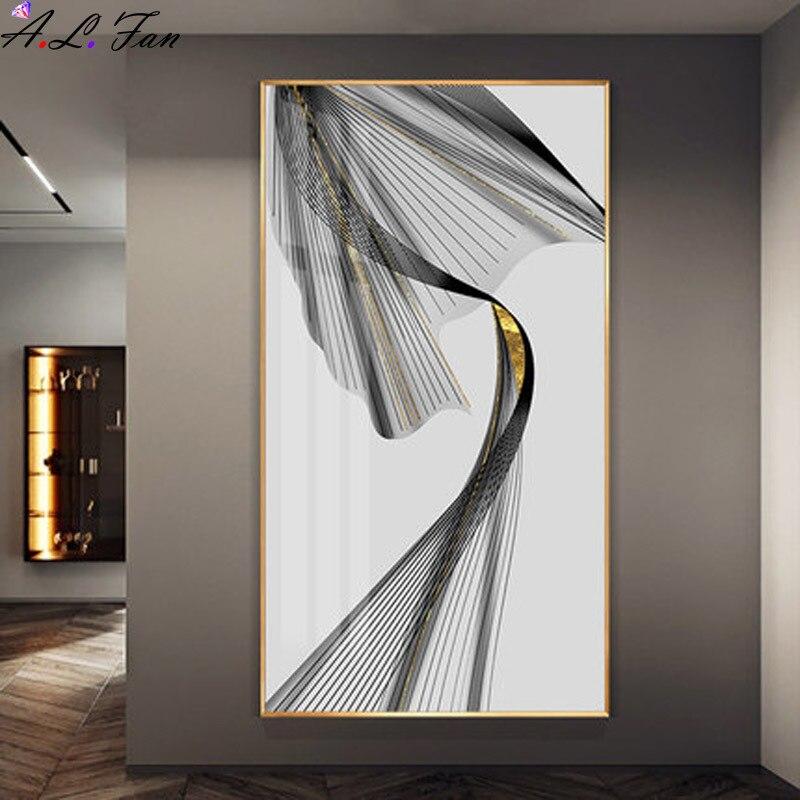 Абстрактный настенная живопись внутренняя оправа черного и желтого цвета, плакатов и скандинавский принт картина на стену для гостиная укр...