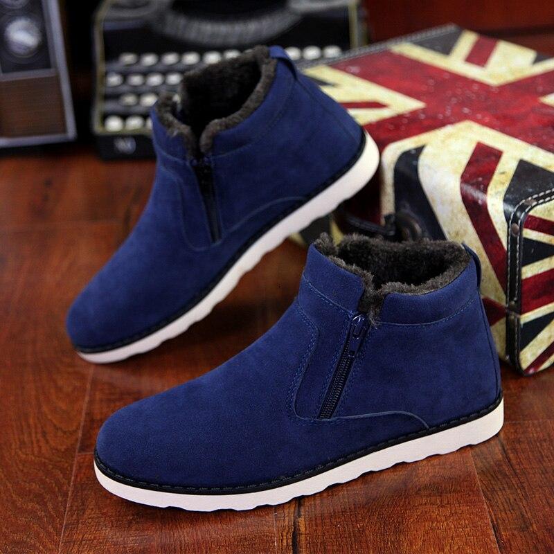 Men Boots Men Winter Shoes Plus Size 37-47 Warm Ankle Botas Hombre For Leather Winter Boots Shoes Men Plush Winter Sneakers Mens