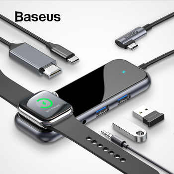 Baseus USB C HUB to USB 3.0 HDMI RJ45 Adapter for MacBook Pro Air Multi Type C HUB with Wireless Charge for iWatch USB-C HUB - DISCOUNT ITEM  20% OFF All Category