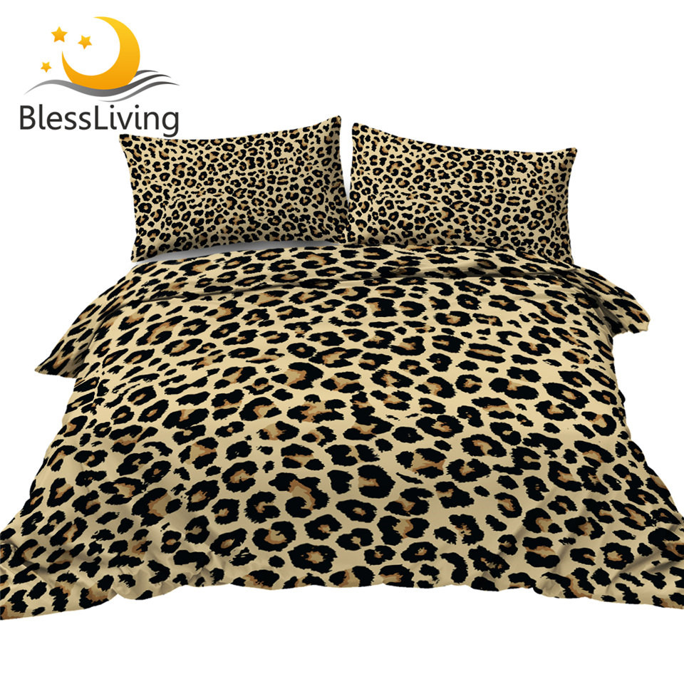 BlessLiving Leopard Pattern Bedding Set Purple Red Yellow Duvet Cover Set Stylish Bed Cover 3-Piece Queen Bedspreads For Adult