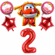 6pcs 3D Super Wings Foil Balloons 32inch Number Ballons Happy Birthday Party Decorations Kids Baby Shower Globos Supplies