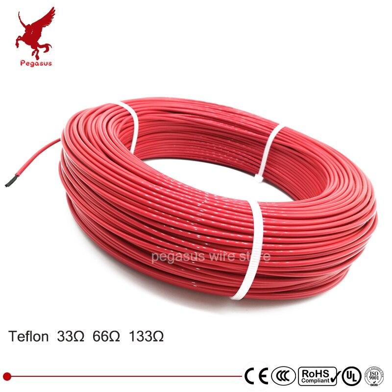 100 mètres 33ohm 66ohm 133ohm haute qualité téflon PTFE fibre de carbone fil chauffant câble chauffant système de chauffage par le sol infrarouge