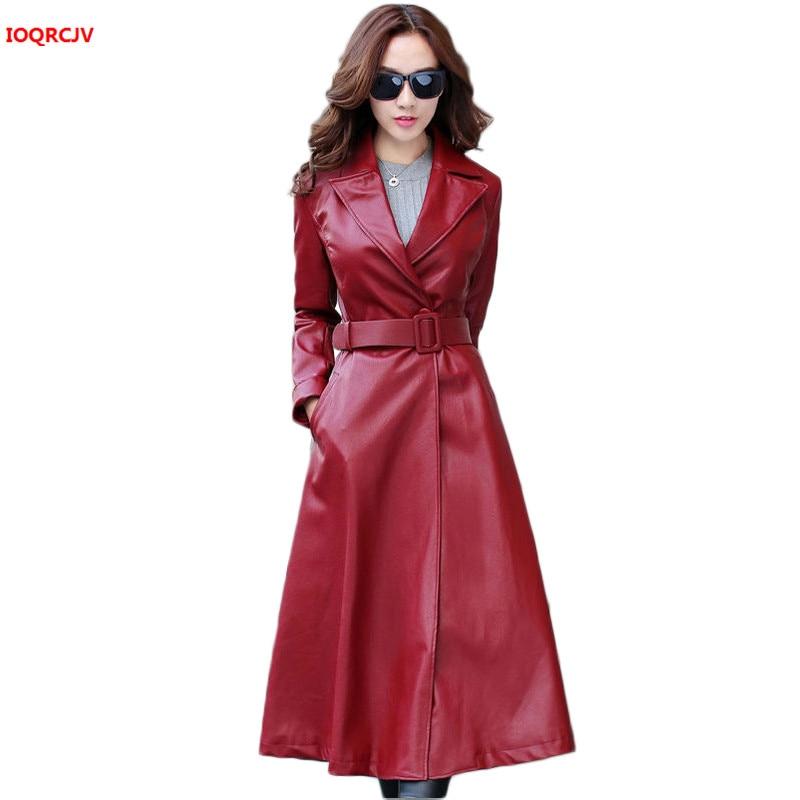 Women Winter Thick Long   Leather   Coat Long Sleeve Waist Strap Pocket Female Jacket Plus Cotton Women's Pu   Leather   Jacket W1432